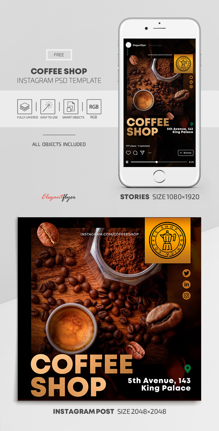 Coffee Shop – Free Instagram Stories Template in PSD + Post Template