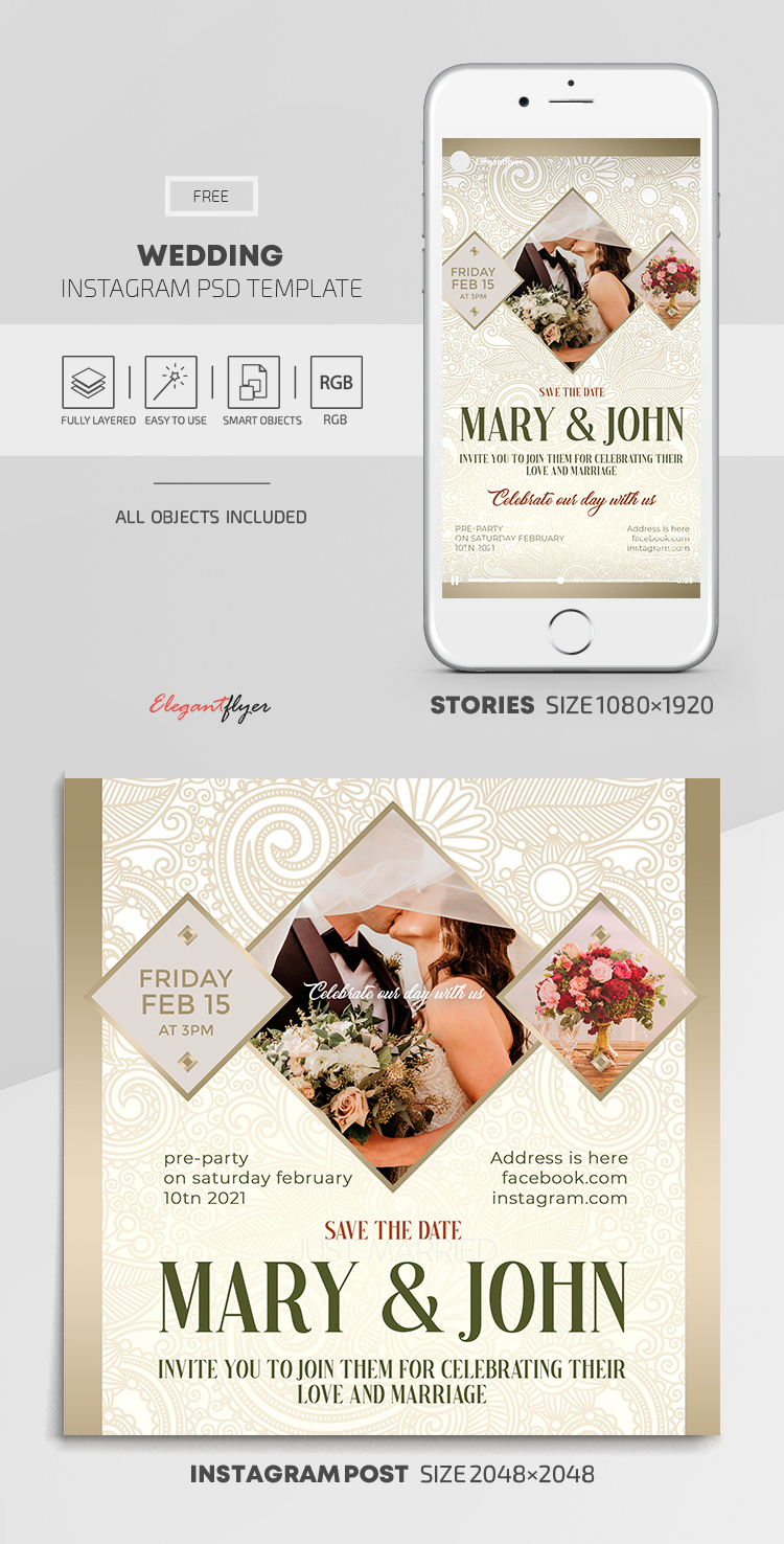 Wedding – Free Instagram Stories Template in PSD + Post Template