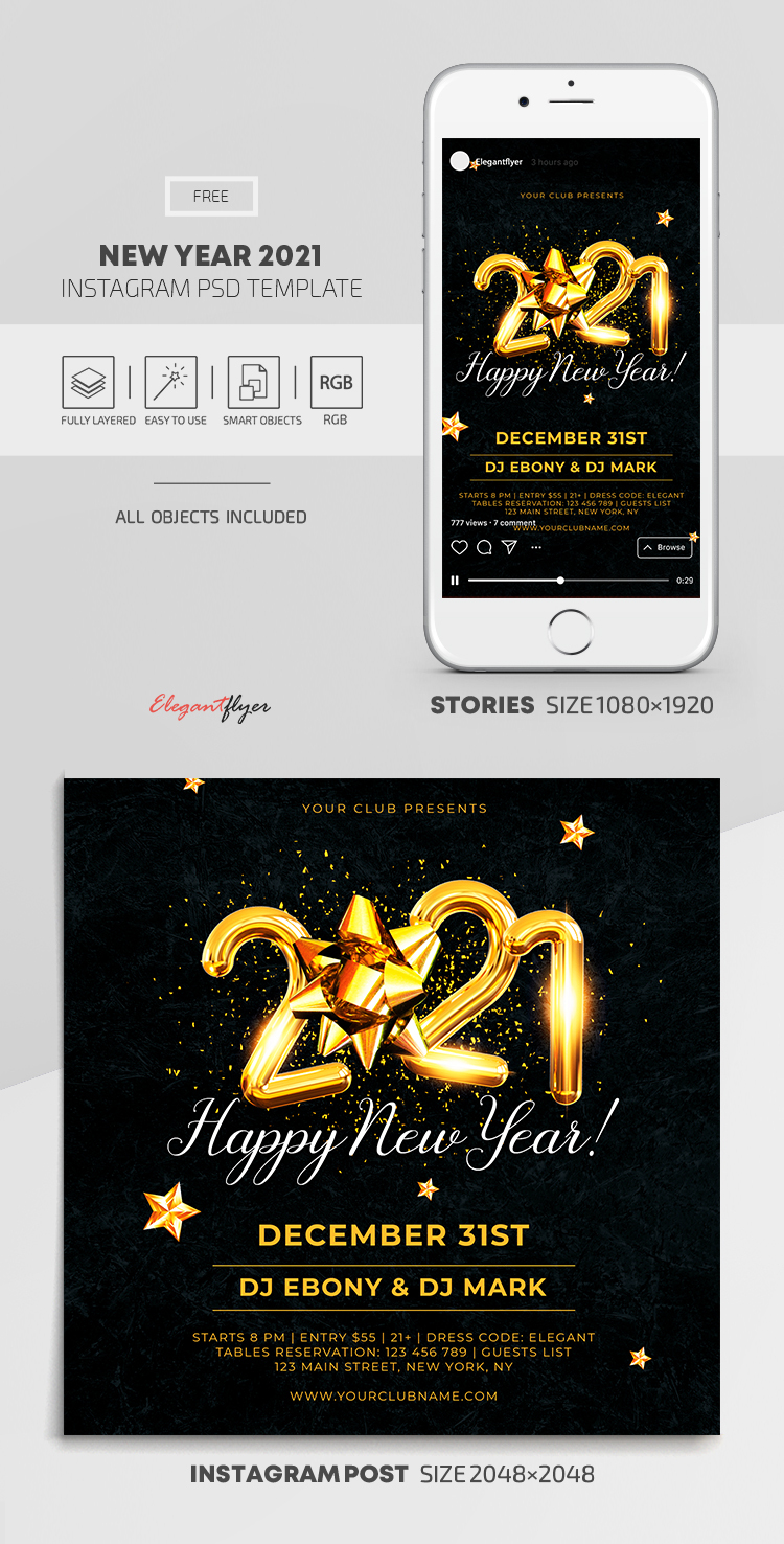New Year 2021 – Free Instagram Stories Template in PSD + Post Template
