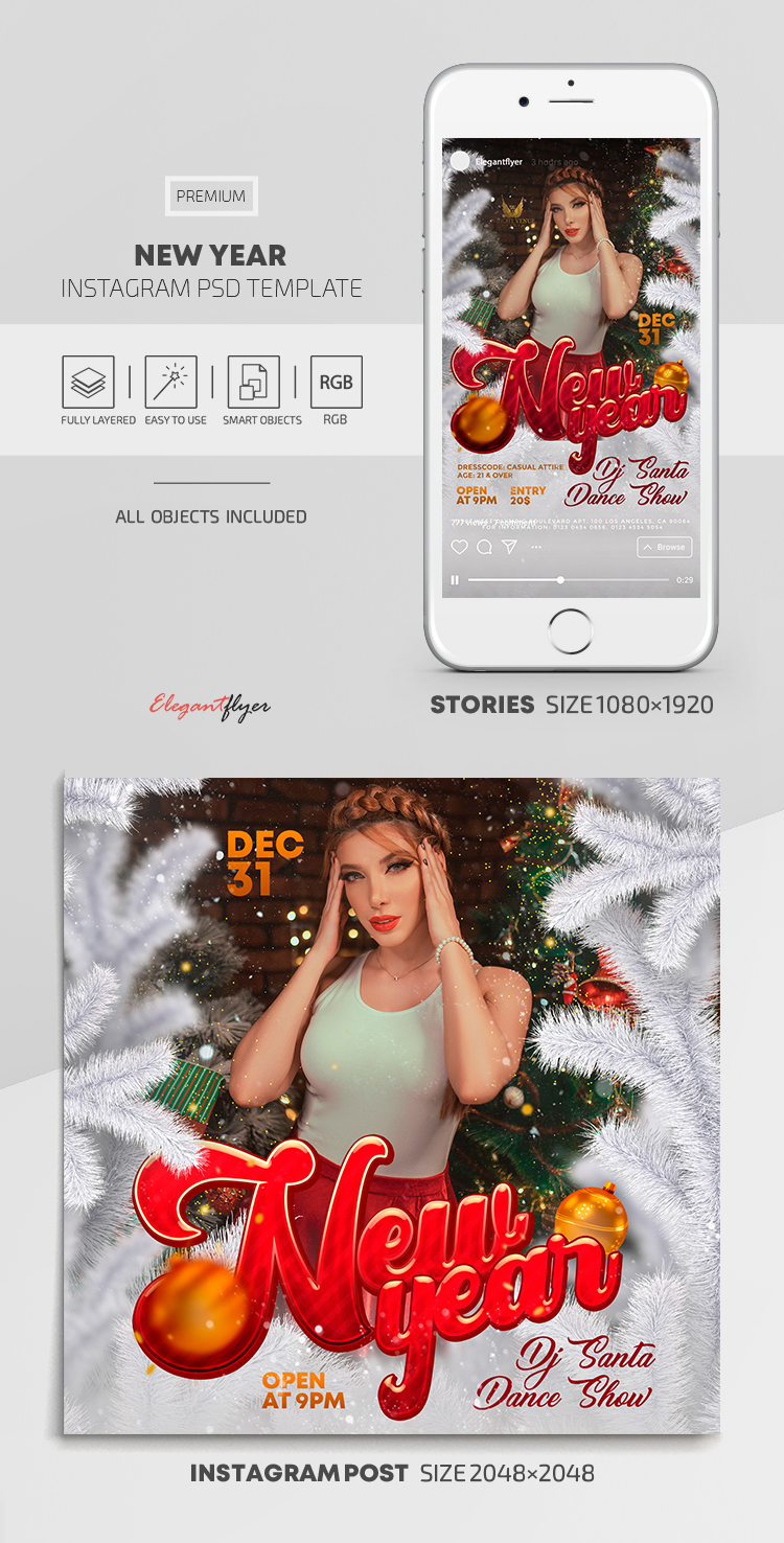 New Year – Instagram Stories Template in PSD + Post Templates