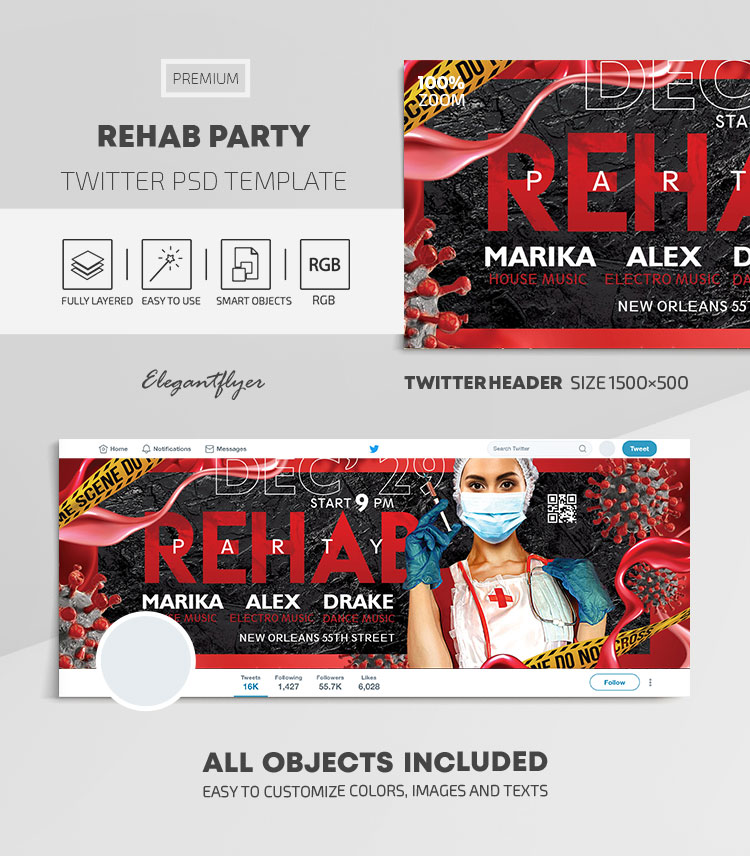 Rehab Party – Twitter Header PSD Template