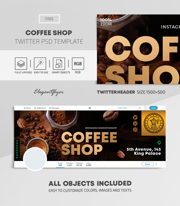 Coffee Shop – Free Twitter Header PSD Template