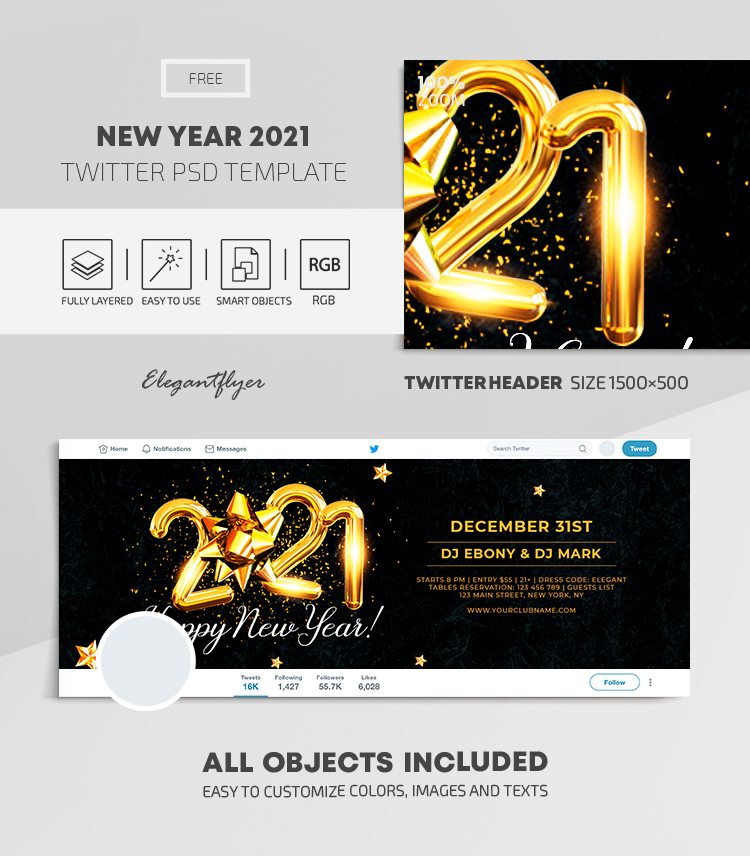 New Year 2021 – Free Twitter Header PSD Template