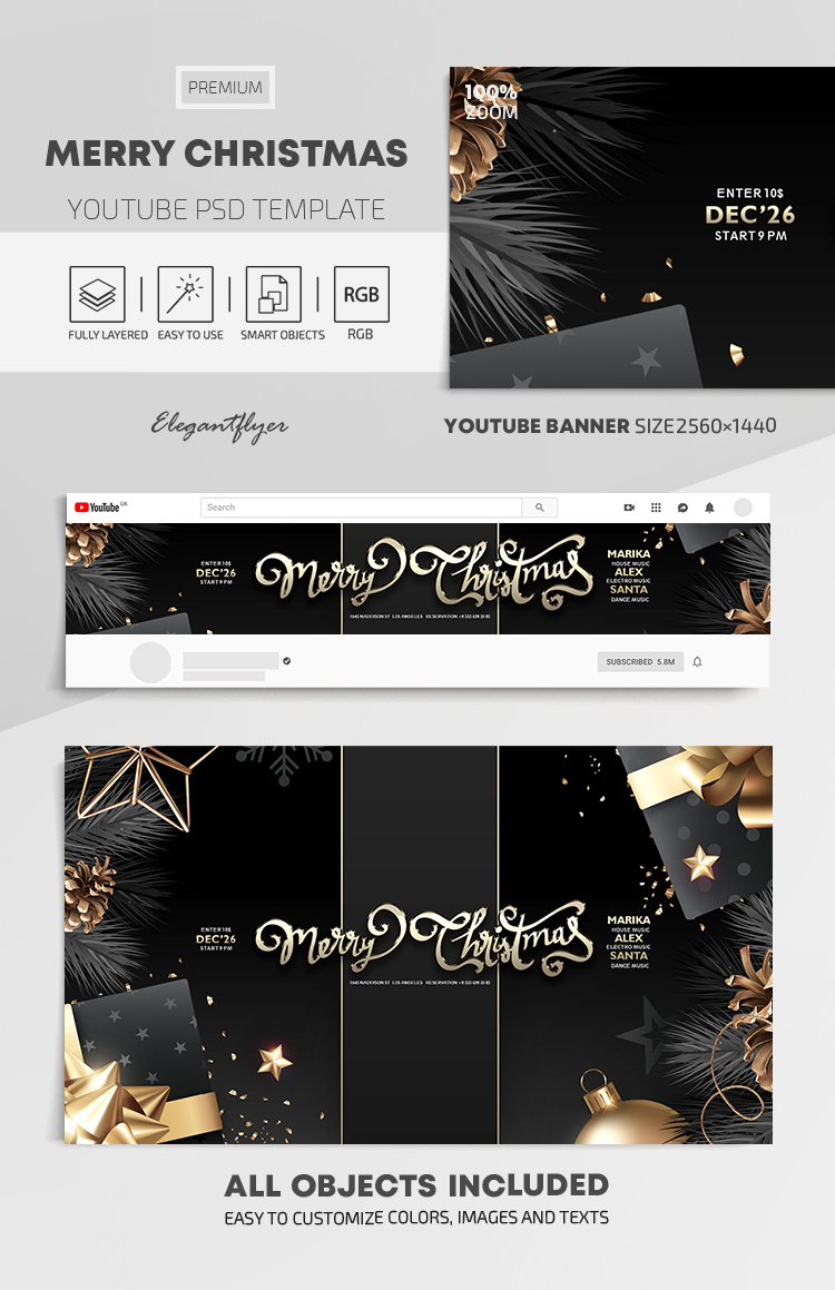 Merry Christmas – Youtube Channel banner PSD Template