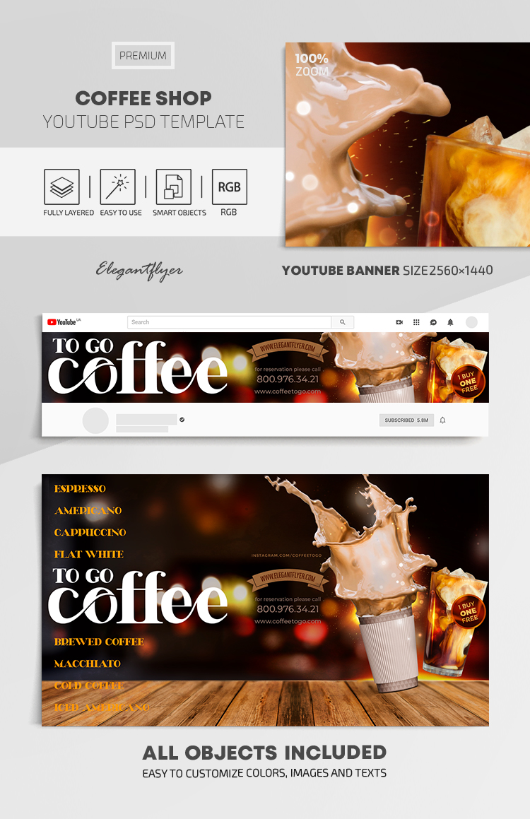 Coffee Shop – Youtube Channel banner PSD Template
