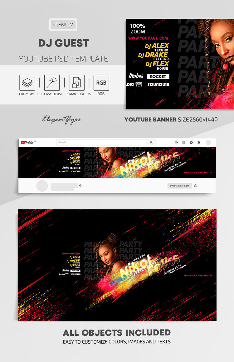 DJ Guest – Youtube Channel banner PSD Template