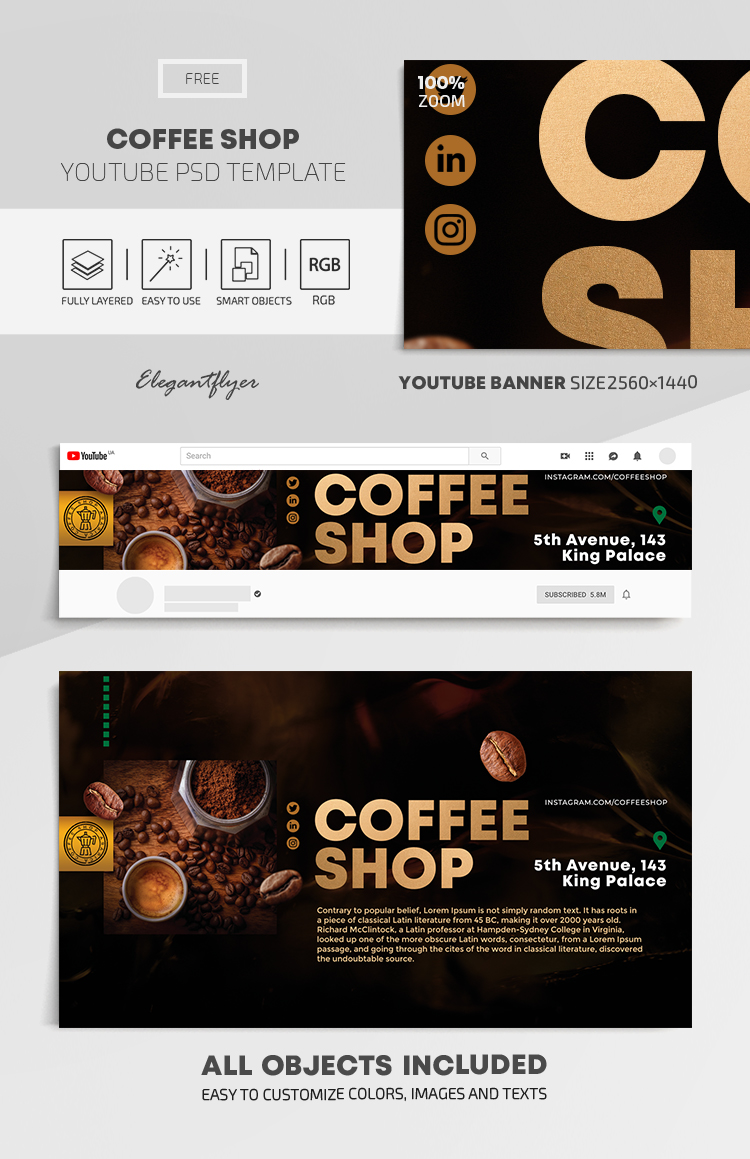 Coffee Shop – Free Youtube Channel banner PSD Template
