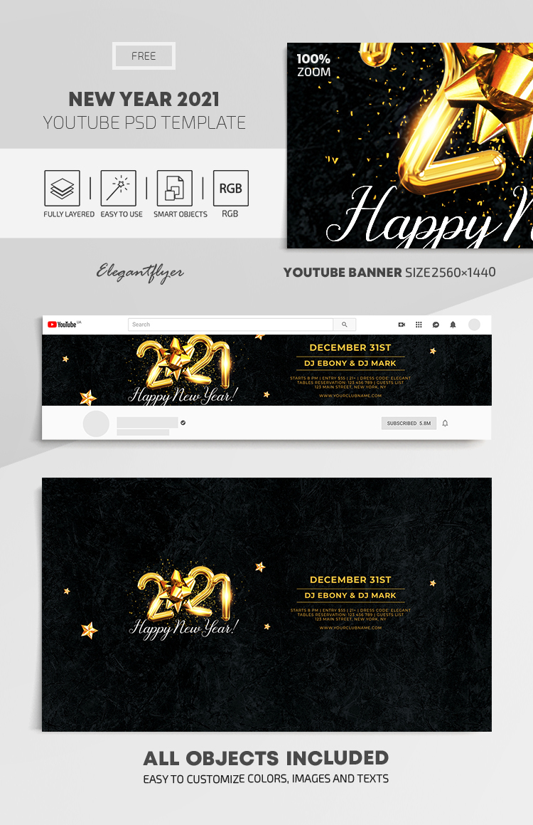 New Year 2021 – Free Youtube Channel banner PSD Template