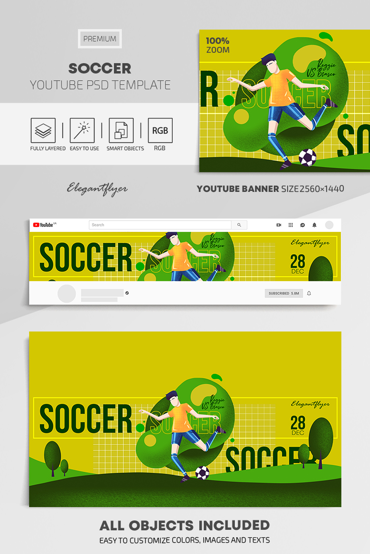 Soccer – Youtube Channel banner PSD Template