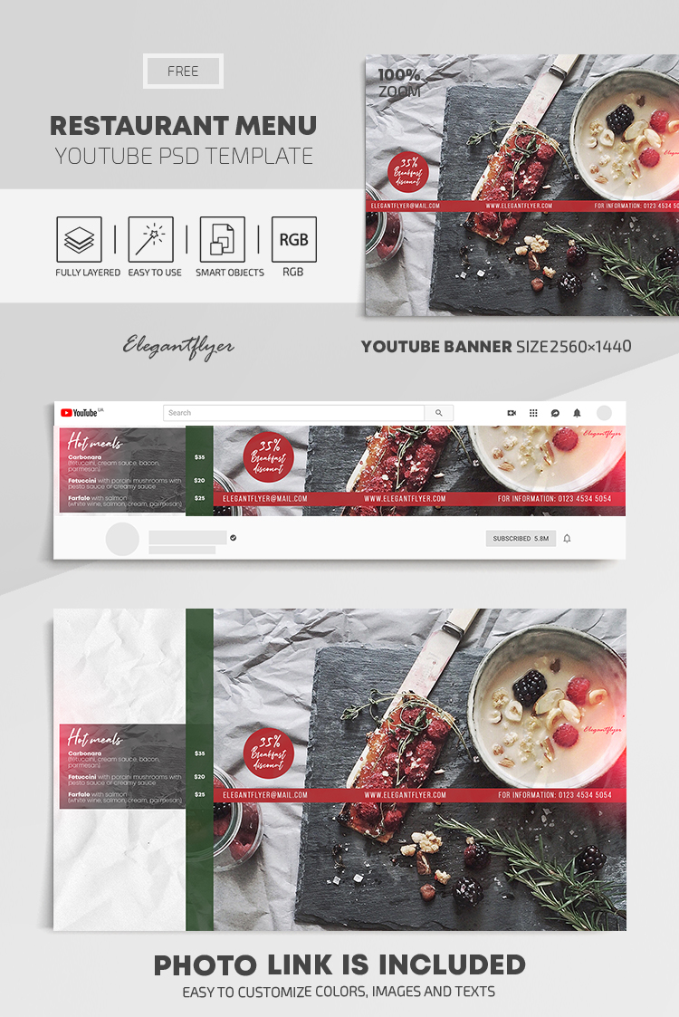 Restaurant Menu – Free Youtube Channel banner PSD Template