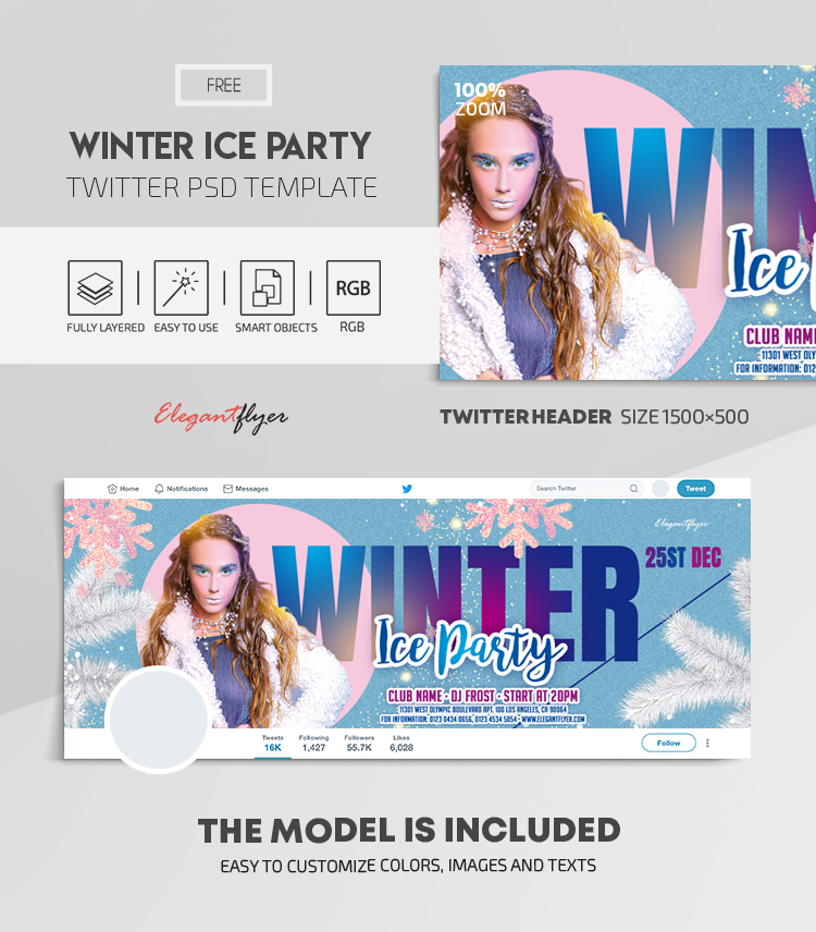Winter Ice Party – Free Twitter Header PSD Template