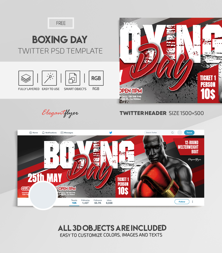 Boxing Day – Free Twitter Header PSD Template