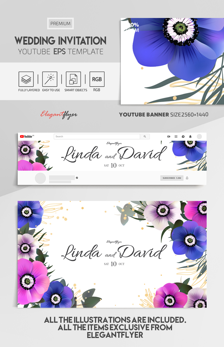 Wedding Invitation – Vector Youtube Channel banner EPS Template