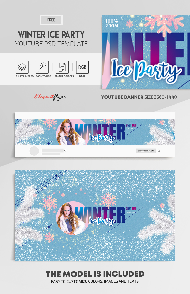 Winter Ice Party – Free Youtube Channel banner PSD Template