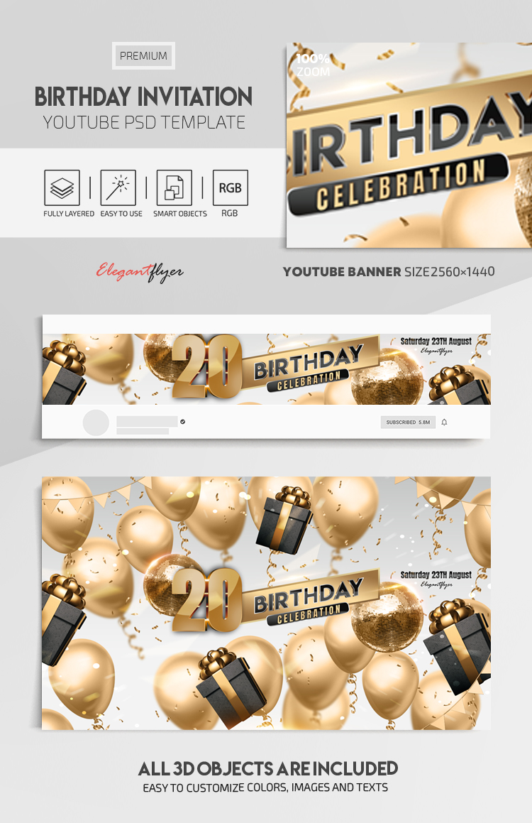 Birthday Invitation – Youtube Channel banner PSD Template