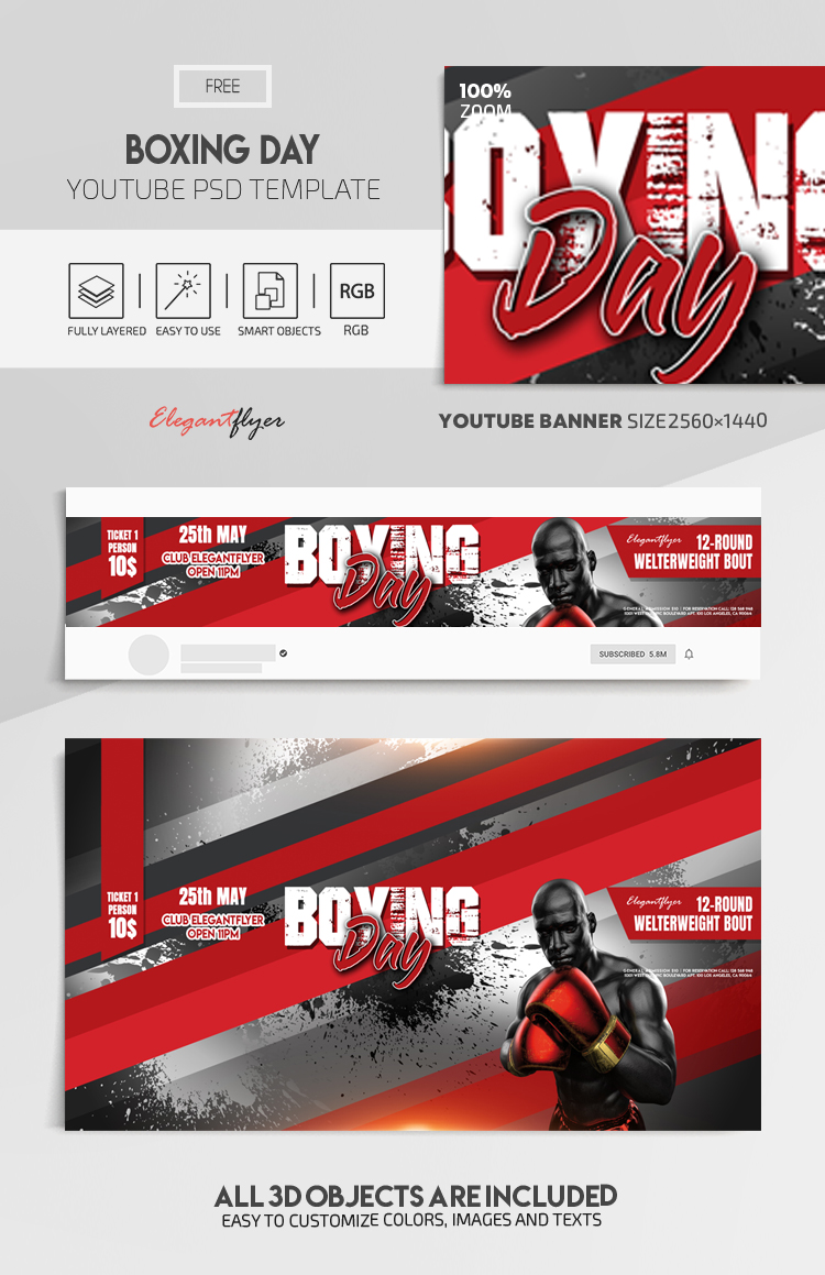 Boxing Day – Free Youtube Channel banner PSD Template