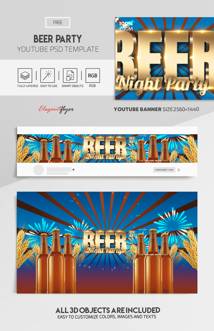 Beer Party – Free Youtube Channel banner PSD Template