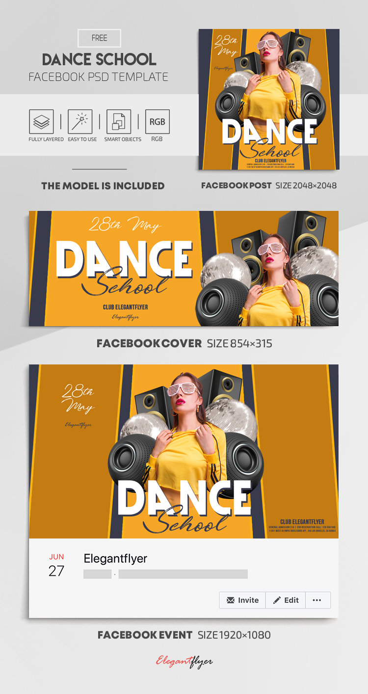 Dance School – Free Facebook Cover Template in PSD + Post + Event cover