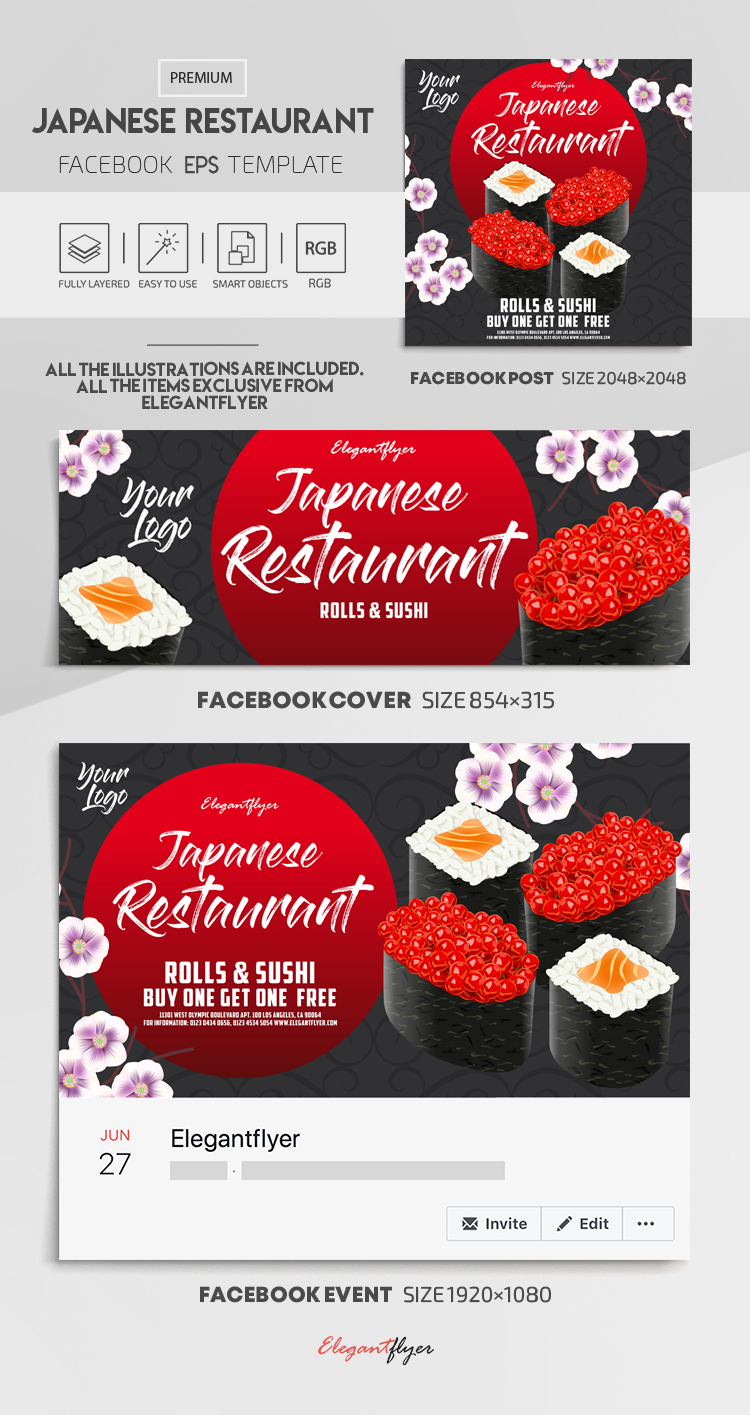 Japanese Restaurant – Vector Facebook Cover Template in EPS + Post + Event cover