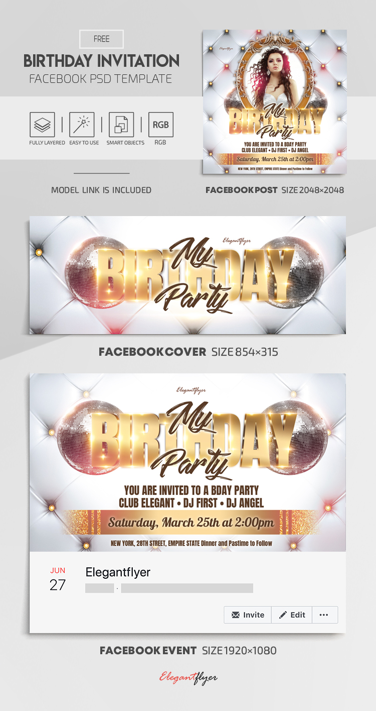 Birthday Invitation – Free Facebook Cover Template in PSD + Post + Event cover