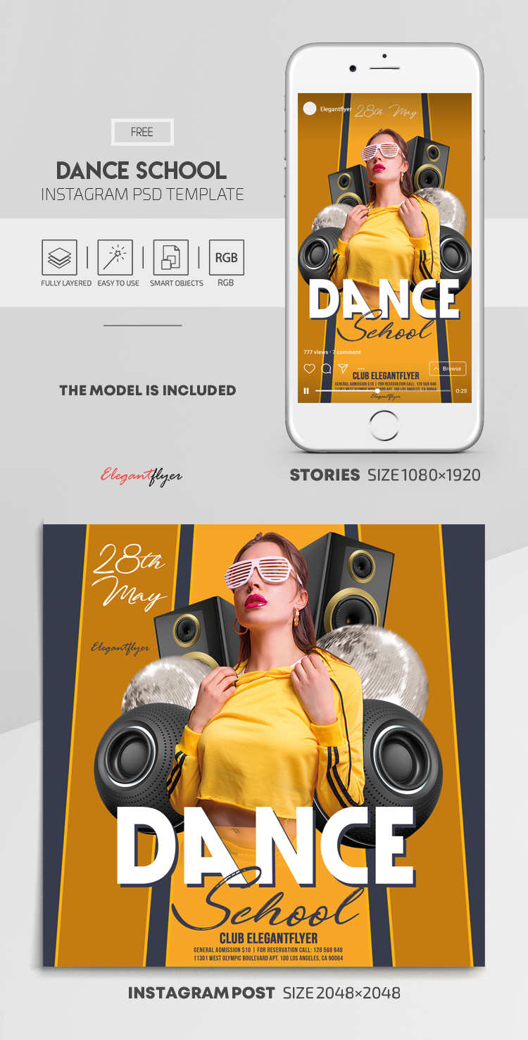 Dance School – Free Instagram Stories Template in PSD + Post Template