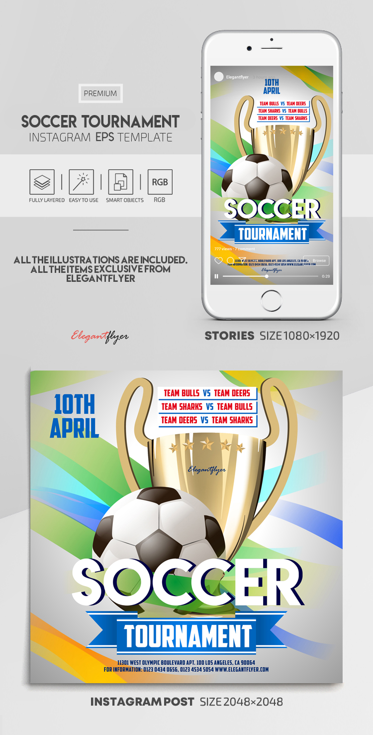 Soccer Tournament – Vector Instagram Stories Template in EPS + Post Templates