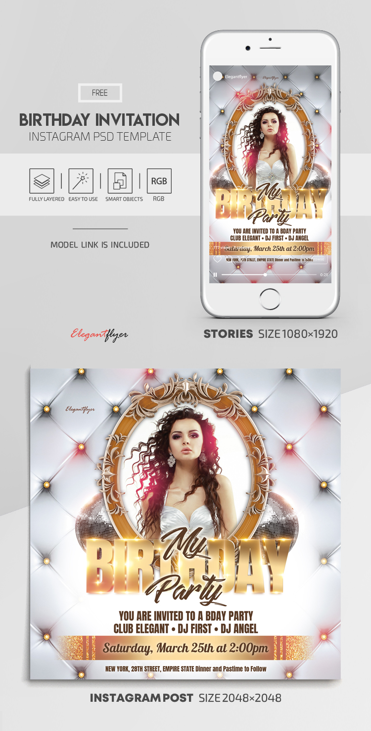 Birthday Invitation – Free Instagram Stories Template in PSD + Post Template