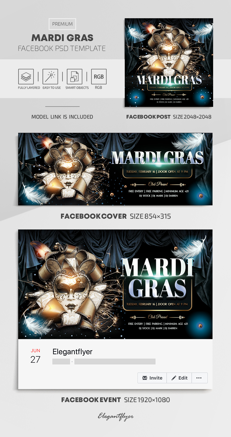 Mardi Gras – Facebook Cover Template in PSD + Post + Event cover