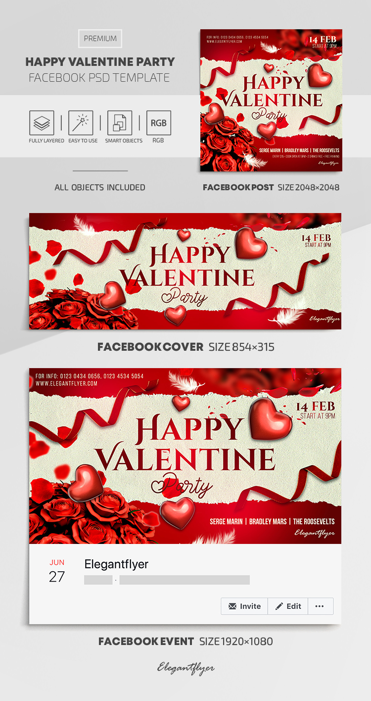Happy Valentine Party – Facebook Cover Template in PSD + Post + Event cover
