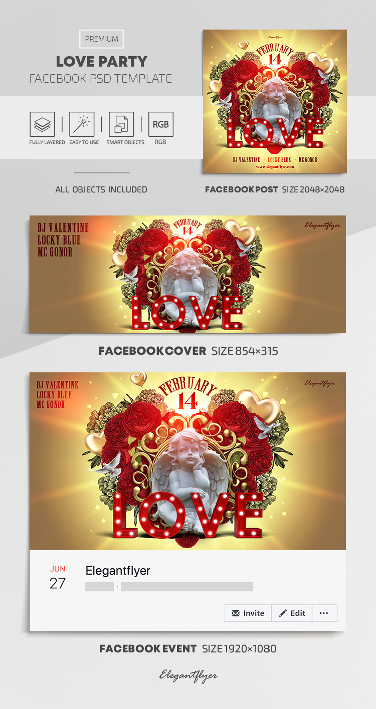 Love Party – Facebook Cover Template in PSD + Post + Event cover