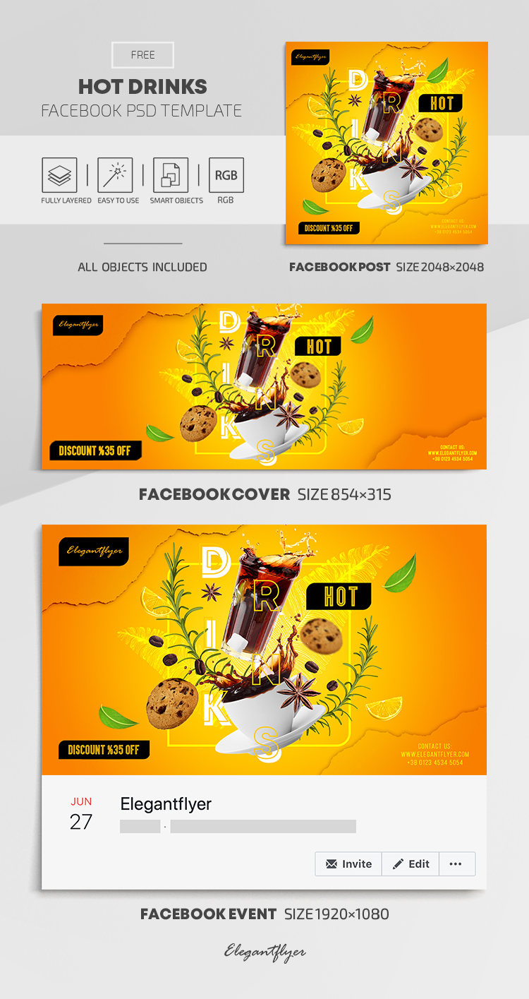 Hot Drinks – Free Facebook Cover Template in PSD + Post + Event cover