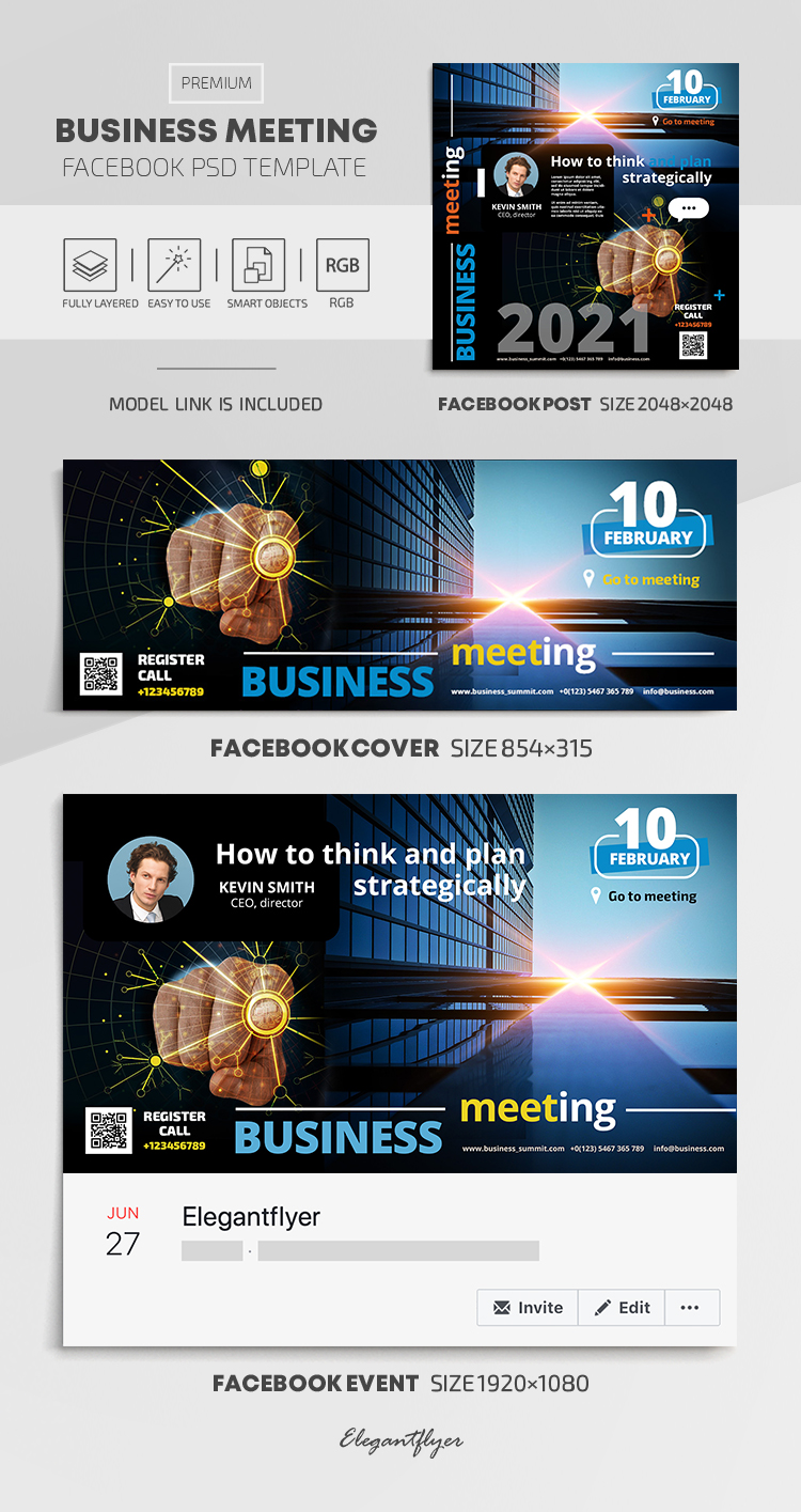 Business Meeting – Facebook Cover Template in PSD + Post + Event cover