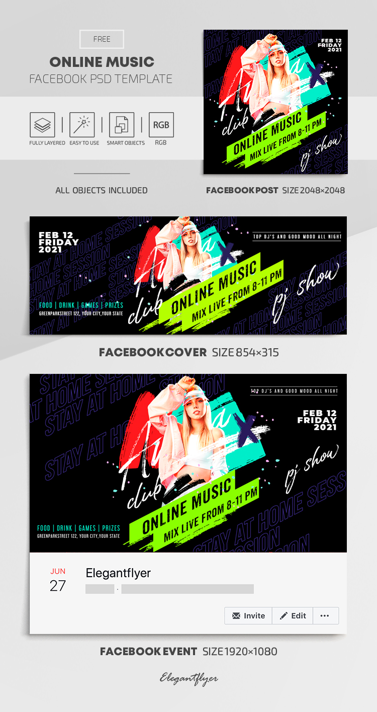Online Music – Free Facebook Cover Template in PSD + Post + Event cover