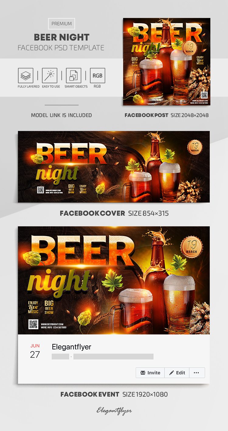 Beer Night – Facebook Cover Template in PSD + Post + Event cover