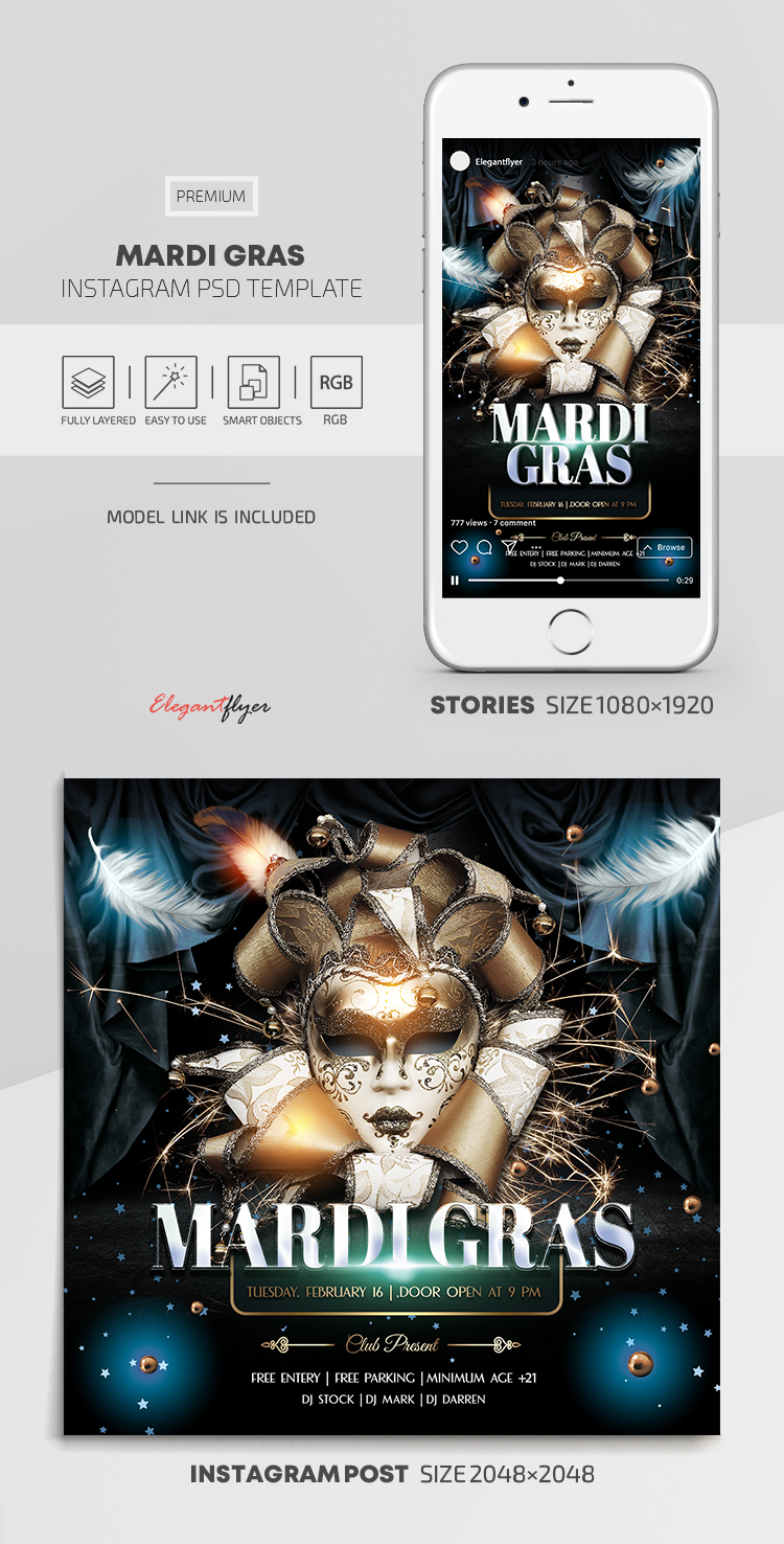 Mardi Gras – Instagram Stories Template in PSD + Post Templates