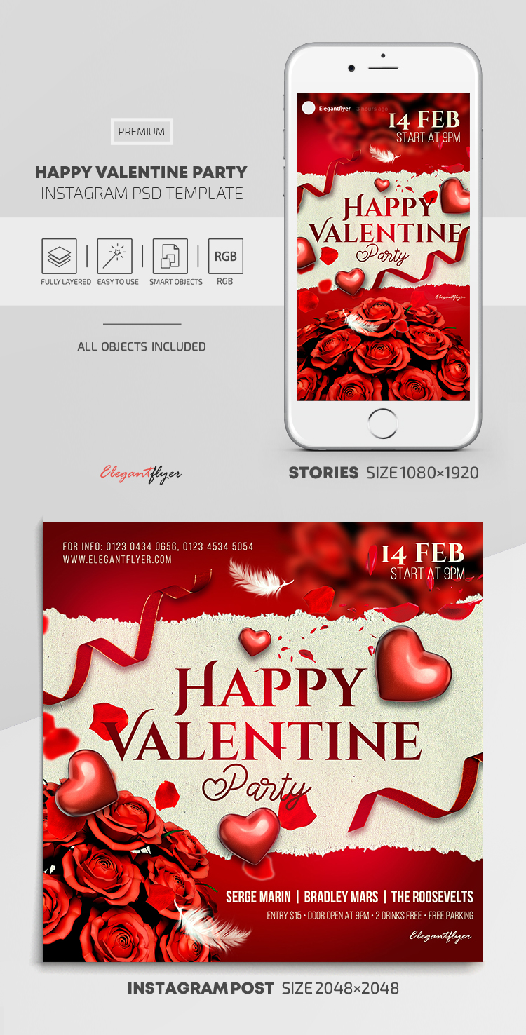 Happy Valentine Party – Instagram Stories Template in PSD + Post Templates