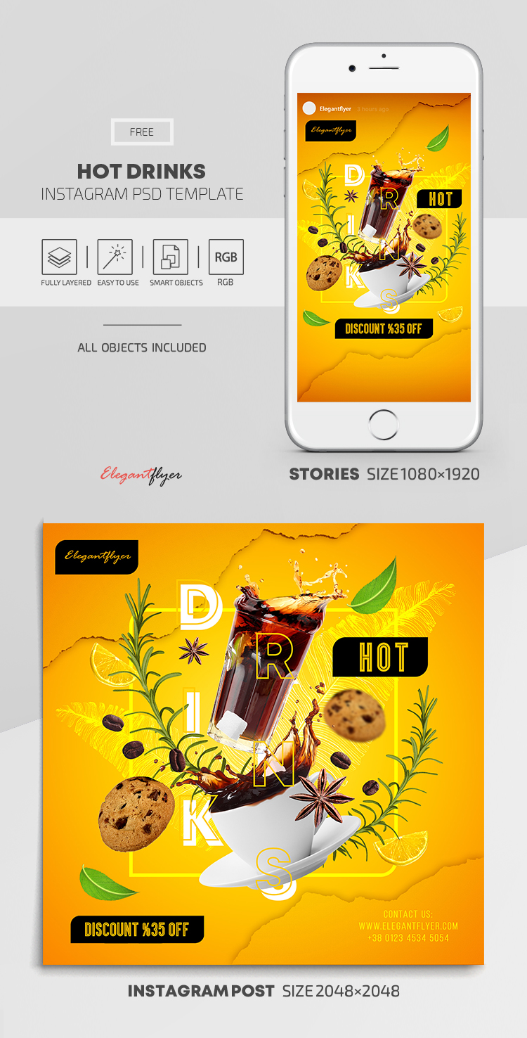 Hot Drinks – Free Instagram Stories Template in PSD + Post Template