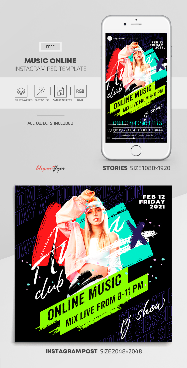 Online Music – Free Instagram Stories Template in PSD + Post Template
