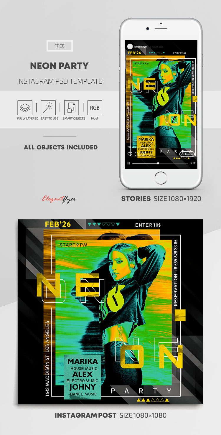Neon Party – Free Instagram Stories Template in PSD + Post Template