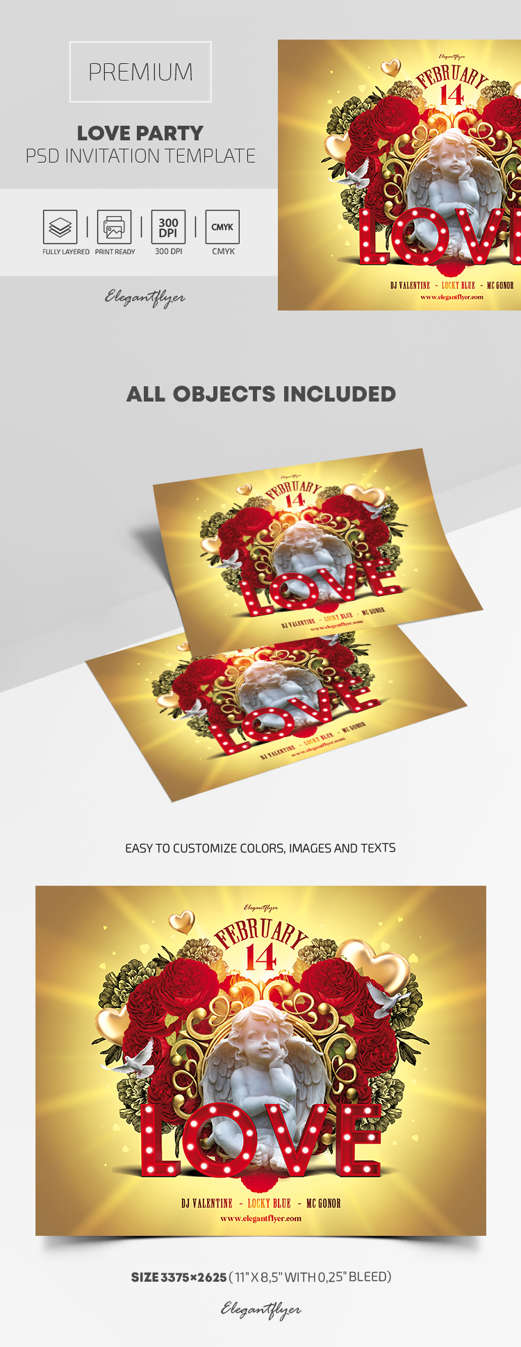 Premium Love Party Invitation PSD Template
