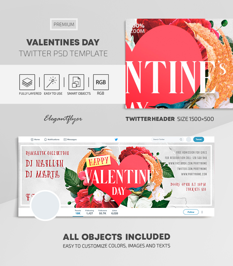 Valentines Day – Twitter Header PSD Template
