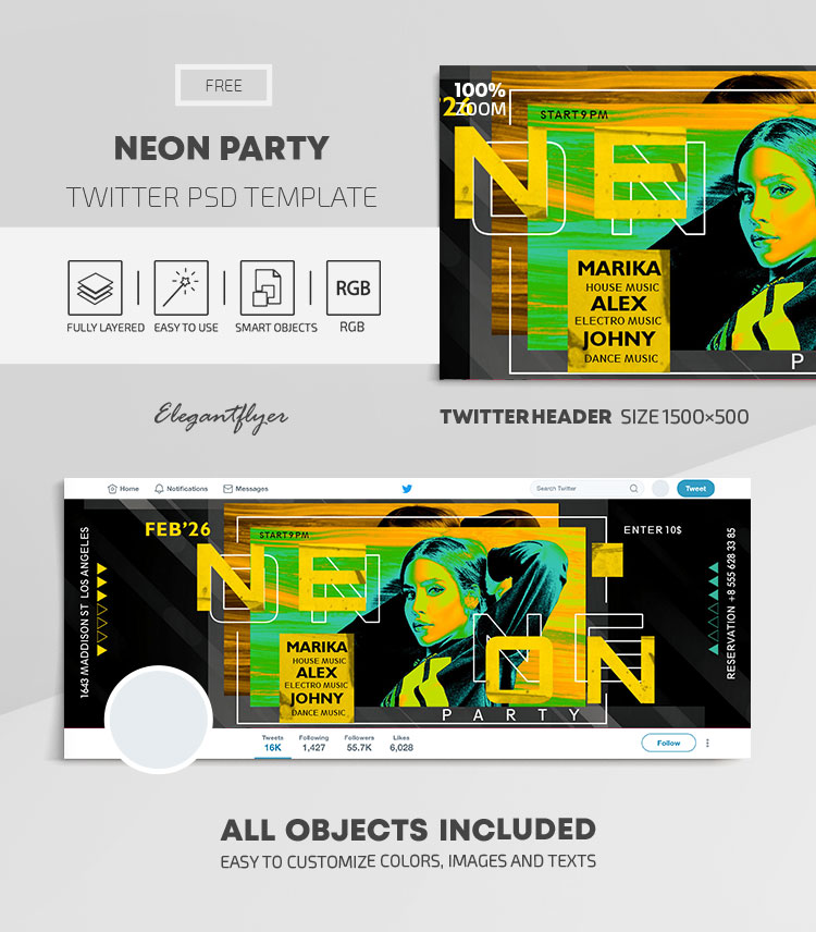 Neon Party – Free Twitter Header PSD Template