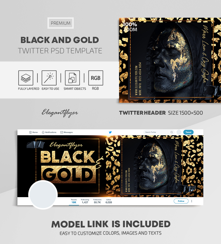 Black and Gold – Twitter Header PSD Template