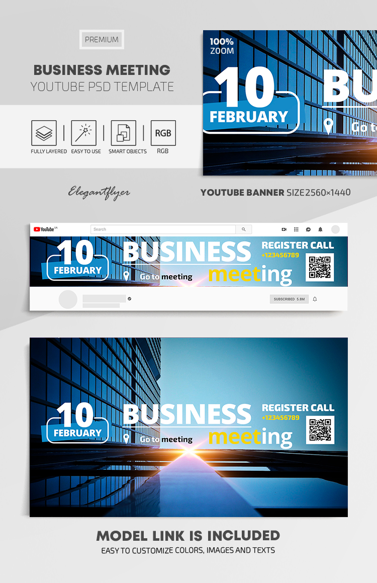 Business Meeting – Youtube Channel banner PSD Template