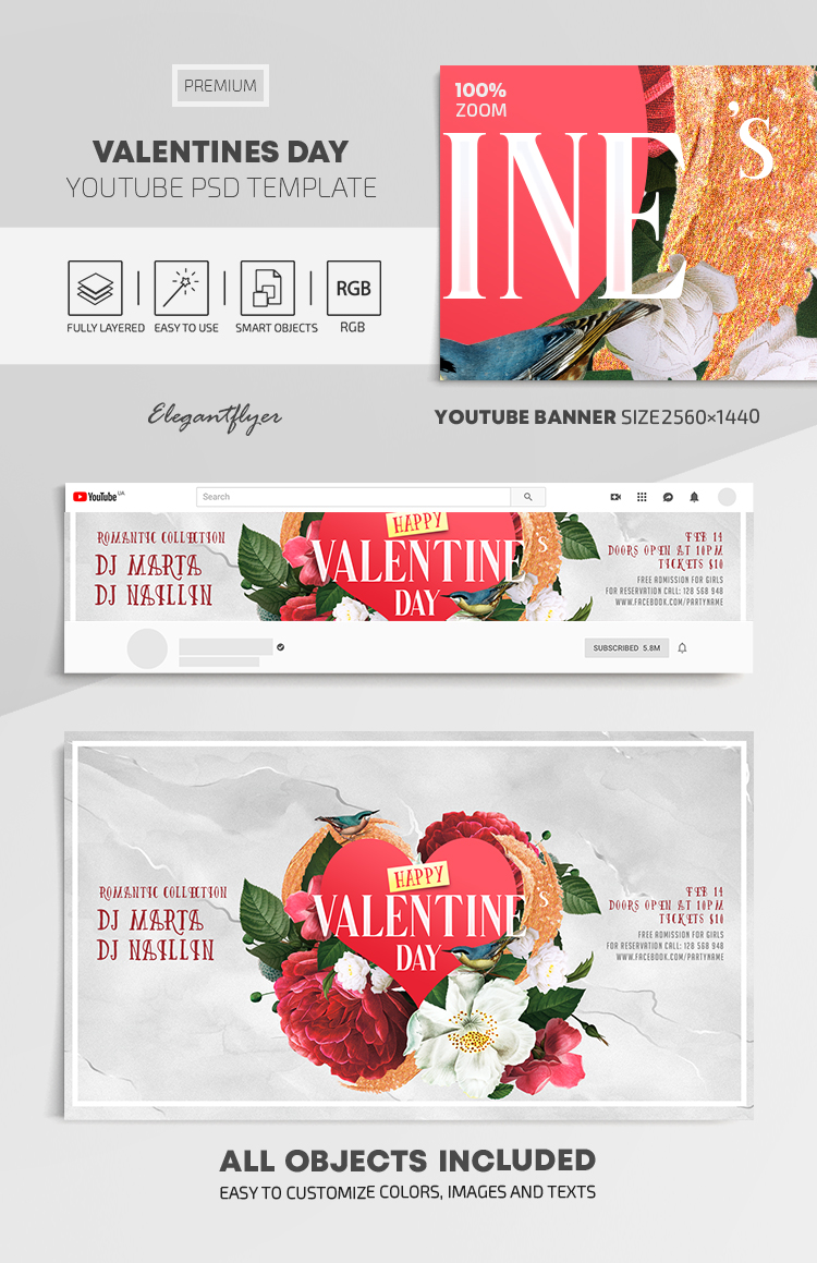 Valentines Day – Youtube Channel banner PSD Template