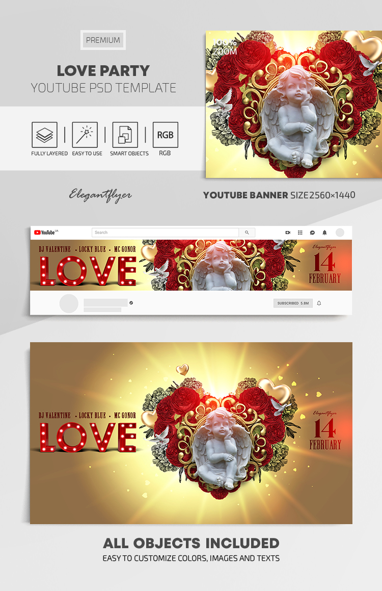 Love Party – Youtube Channel banner PSD Template