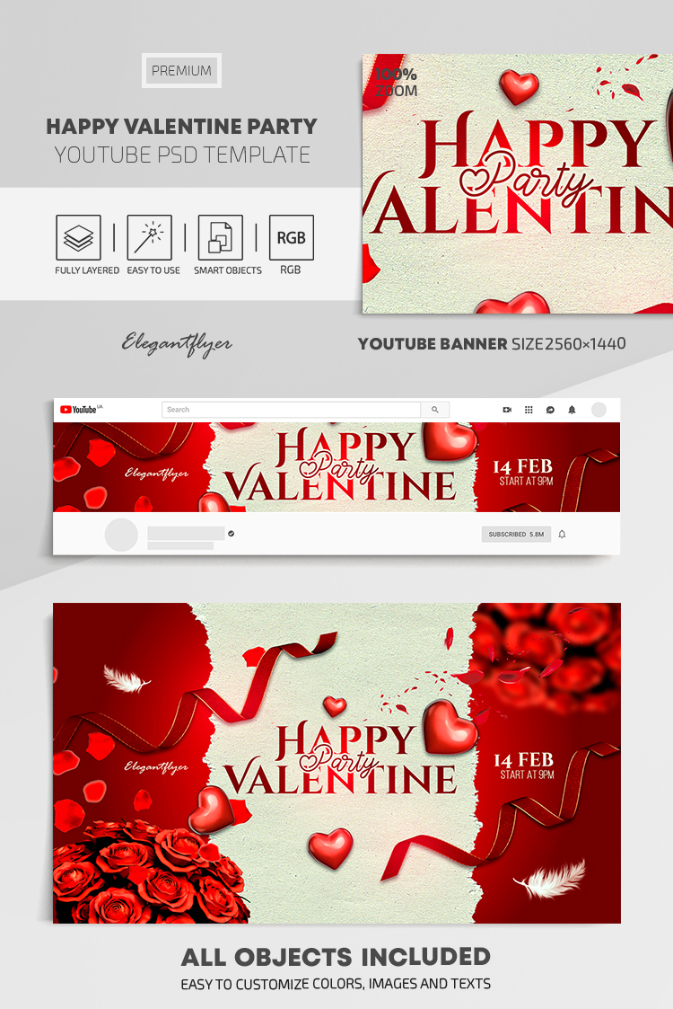 Happy Valentine Party – Youtube Channel banner PSD Template