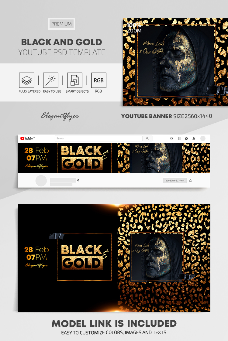 Black and Gold – Youtube Channel banner PSD Template
