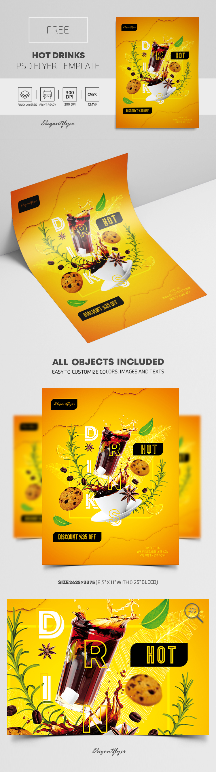 Hot Drinks – Free Flyer PSD Template