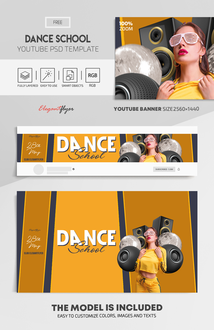 Dance School – Free Youtube Channel banner PSD Template